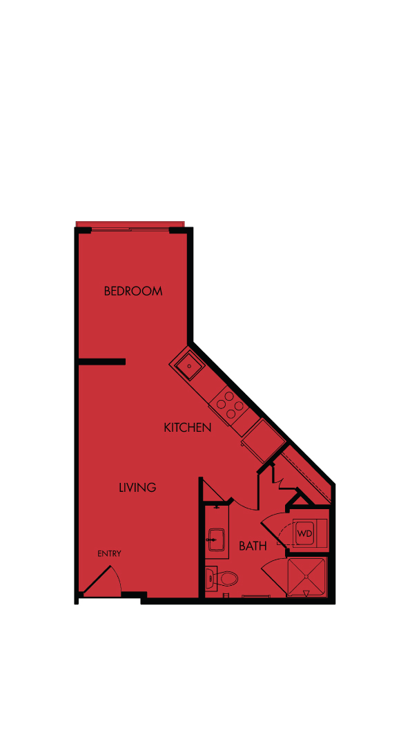 Flora Luxury Apartments, Austin, Texas. A1-Poppy, one-bedroom, 458 sf.