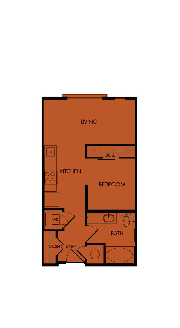Flora Luxury Apartments, Austin, Texas. A2-Verbena, one-bedroom, 510 sf.