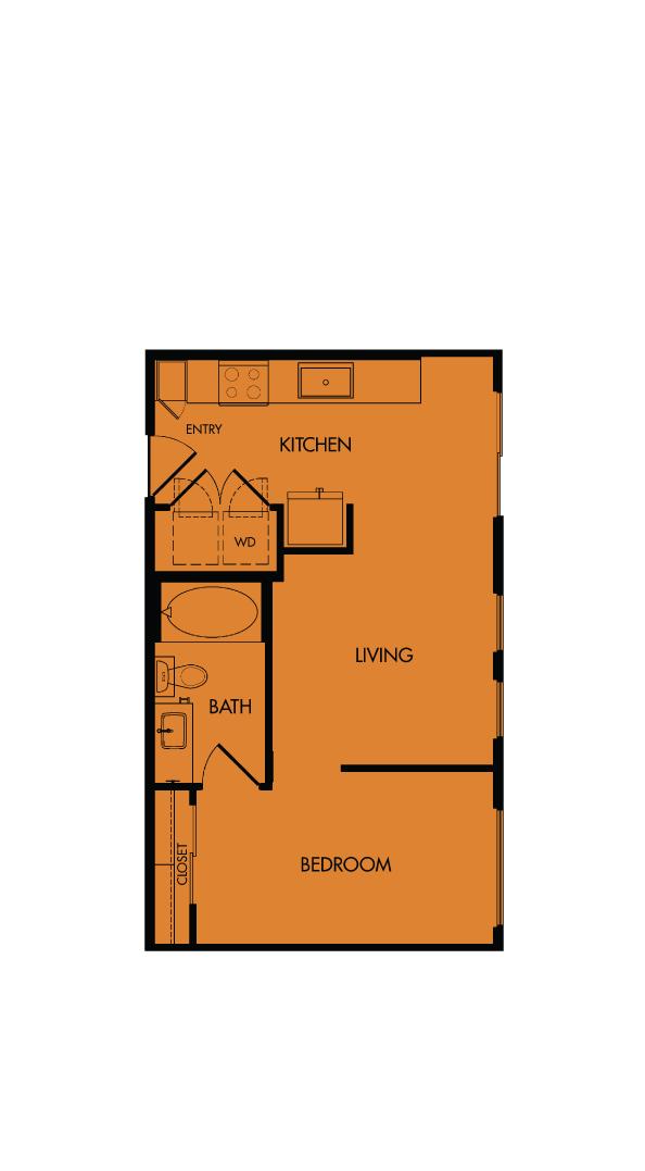 Flora Luxury Apartments, Austin, Texas. A3-Paintbrush, one-bedroom, 539 sf.