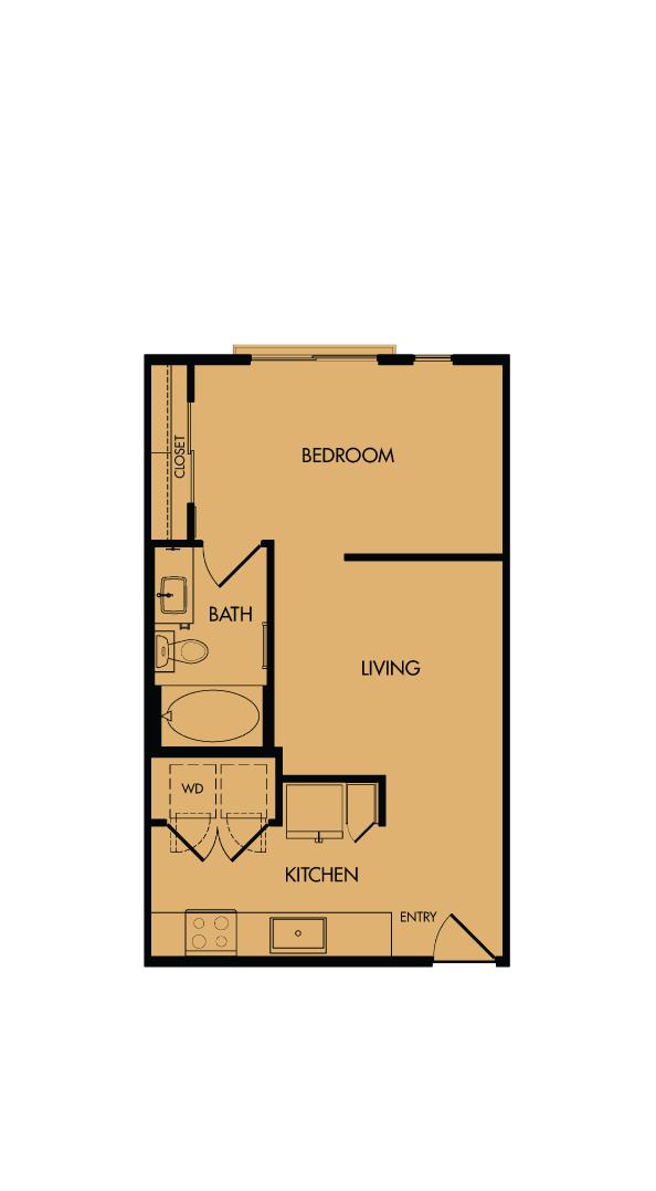 Flora Luxury Apartments, Austin, Texas. A4-Daisy, one-bedroom, 540 sf.