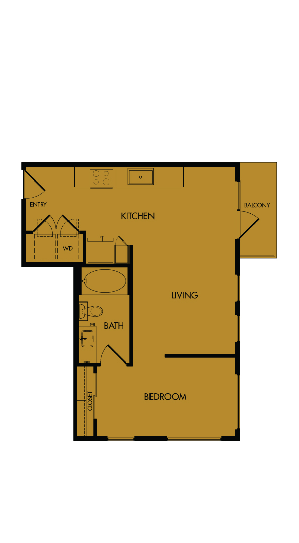 Flora Luxury Apartments, Austin, Texas. A5-Sunflower, one-bedroom, 603 sf.
