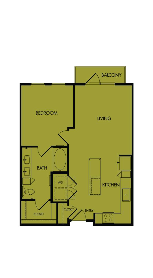 Flora Luxury Apartments, Austin, Texas. A6-Bottlebrush, one-bedroom, 720 sf.