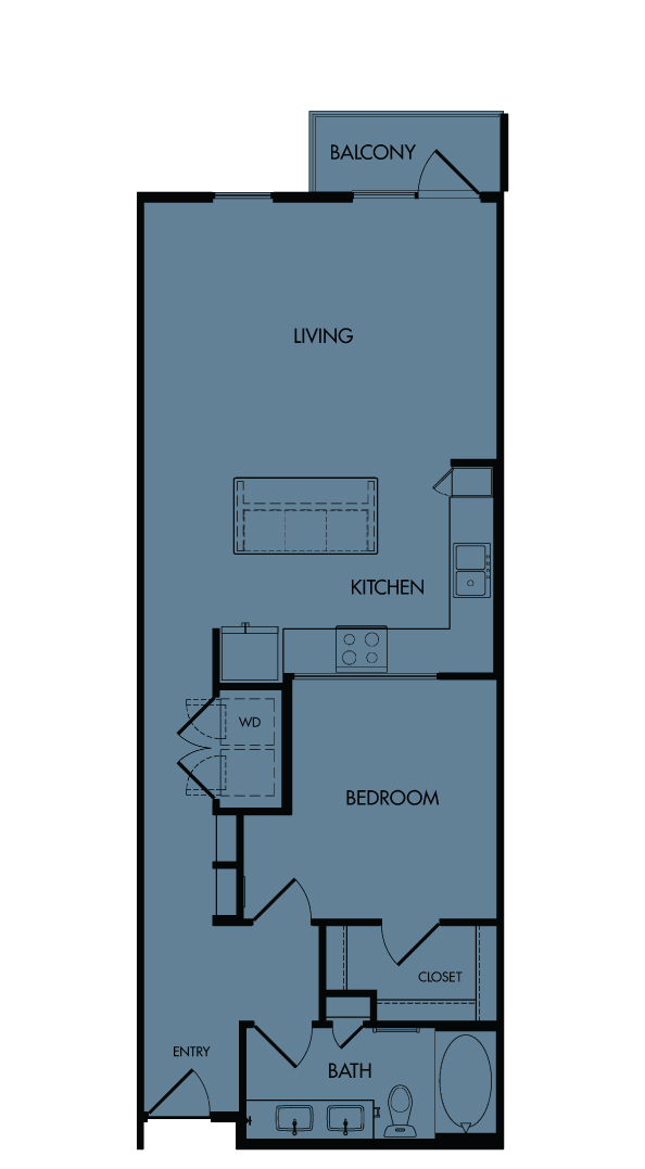 Flora Luxury Apartments, Austin, Texas. A9-Bluebonnet, one-bedroom, 843 sf.