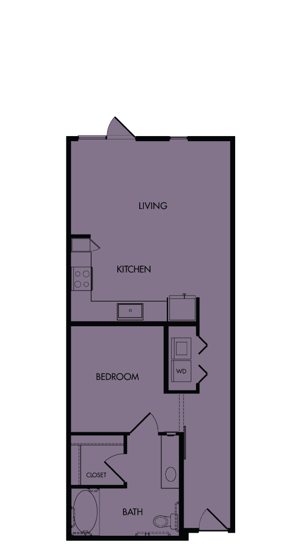 Flora Luxury Apartments, Austin, Texas. A10-Lavender, one-bedroom, 774 sf.