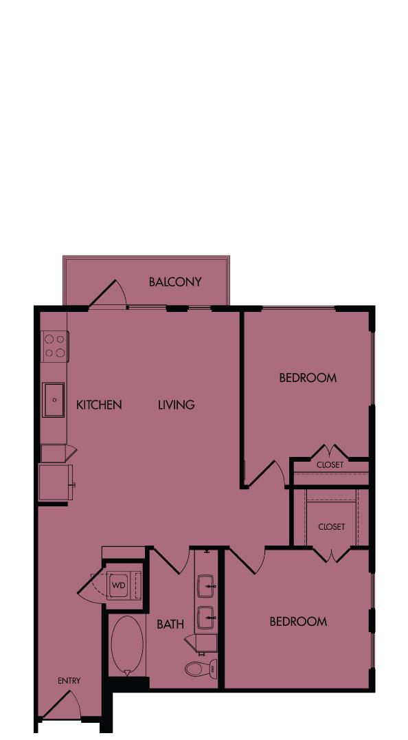 Flora Luxury Apartments, Austin, Texas. B1-Primrose, two-bedroom, 858 sf.