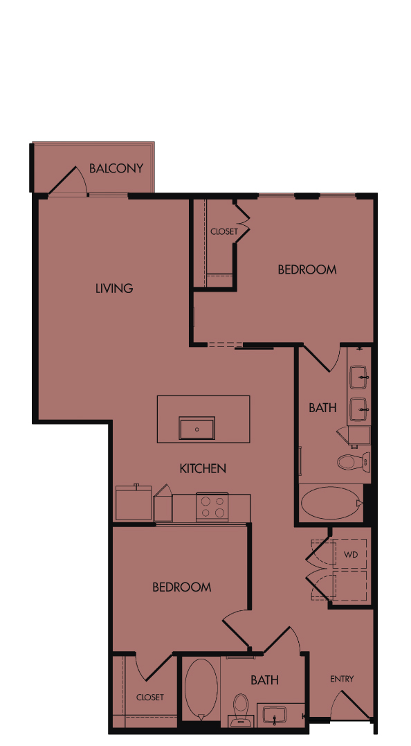 Flora Luxury Apartments, Austin, Texas. B2-Winecup, two-bedroom, 987 sf.