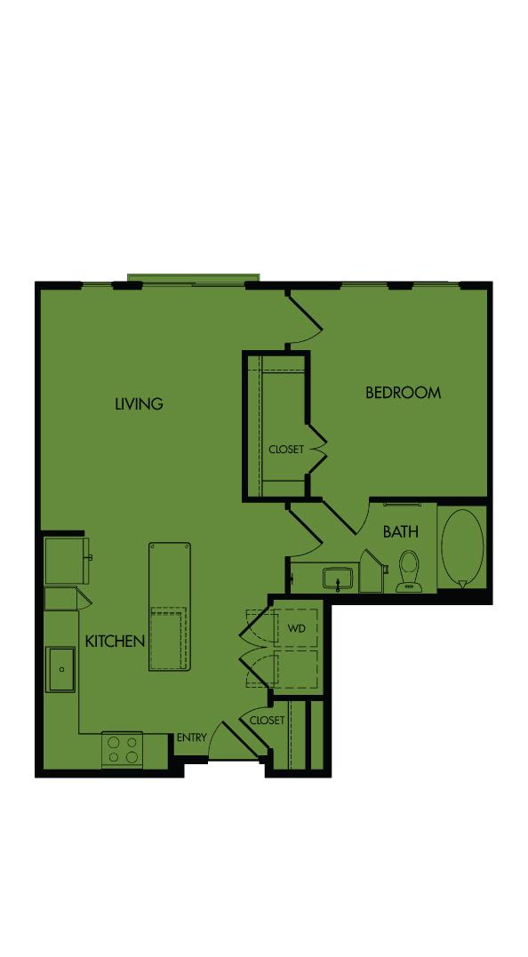 Flora Luxury Apartments, Austin, Texas. A7-Clover, one-bedroom, 731 sf.