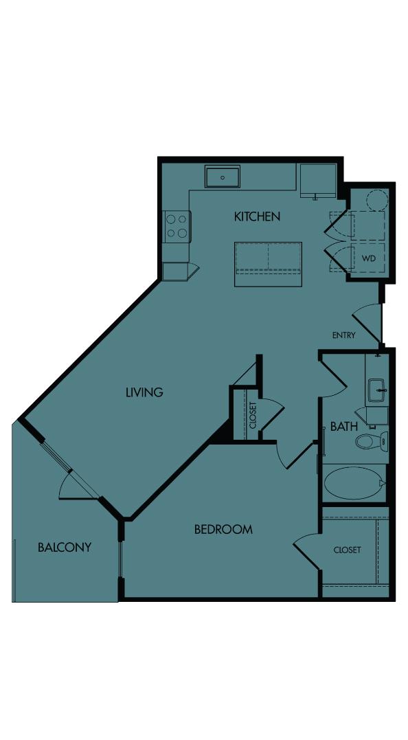 Flora Luxury Apartments, Austin, Texas. A8-Sage, one-bedroom, 778 sf.