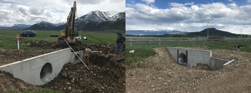 These photos show before, during and after the construction of a headwall and two laterals for the Wyoming State Land Irrigation Improvement Project.