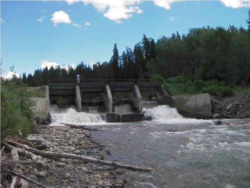 Looking upstream at Spread Creek Dam prior to project construction and removal.