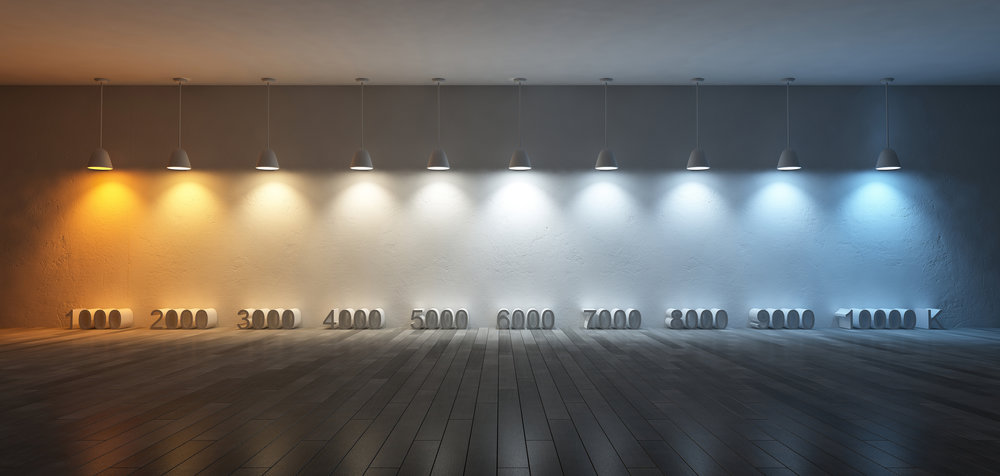 An illustration of CCT values in degrees Kelvin. Most indoor lighting products produce light in the range of 1800 K to 6500 K.