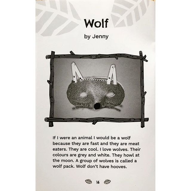 These wolf facts are from Fuzzy, Furry, Funny: Super Wild Animals. Each super kid author chose an animal they most identified with and did some research to find out more. Then they made masks so that they could really become their animal. Flip through to see the colour photo of the mask and the fun and wacky book cover, designed by @melaniekwan!  What kind of animal are you?
