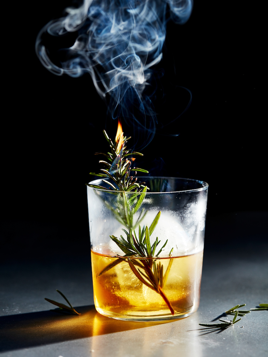 The Smokin Rose made with Bulleit Bourbon on the rocks