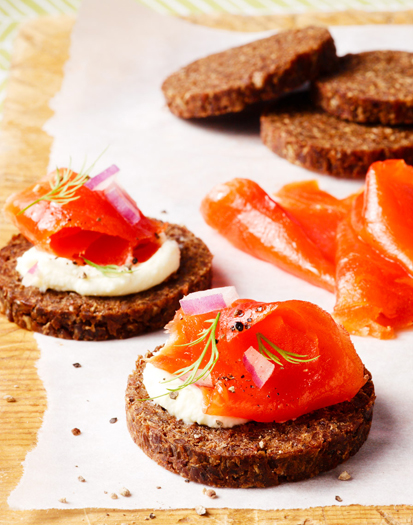 Smoked Salmon on Rye Bread Appetizer