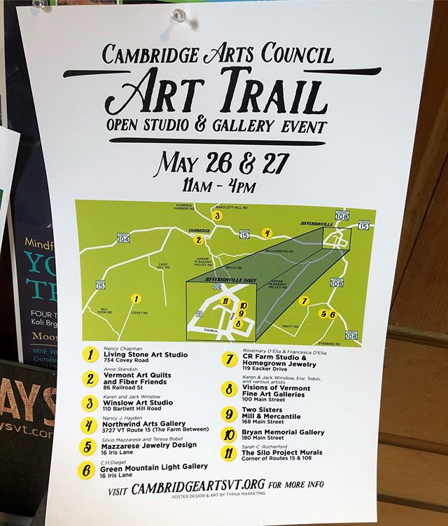 The @cambridgeartscouncil Art Trail Event is coming up! Map making has become my thing lately, which, as a map nerd, I am totally okay with. Hop on the trail and check out this really cool open house/exhibit weekend in Cambridge and Jeffersonville! . . . . . . #art #arts #vtarts #vtart #arttrail #openhouse #graphicdesign #map #mapmaking #vermont #cambridgevt #cambridgeartscouncil #siloprojectvt #jeffersonvillevt