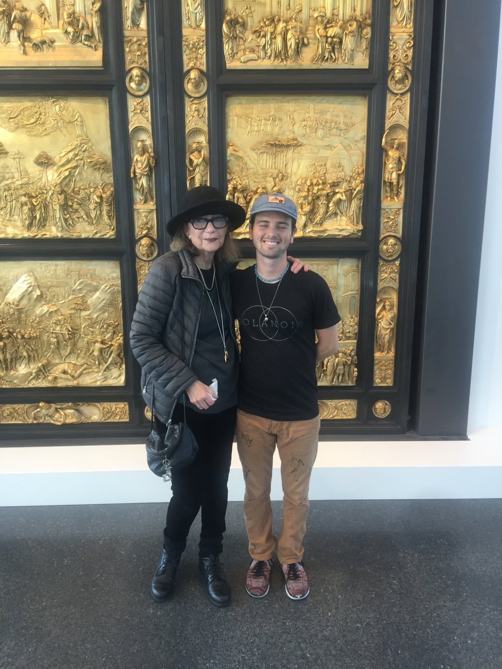 Mark Allen and Shea Gordon in front of The Golden Gates of Paradise at the Nelson Atkins Museum of Art