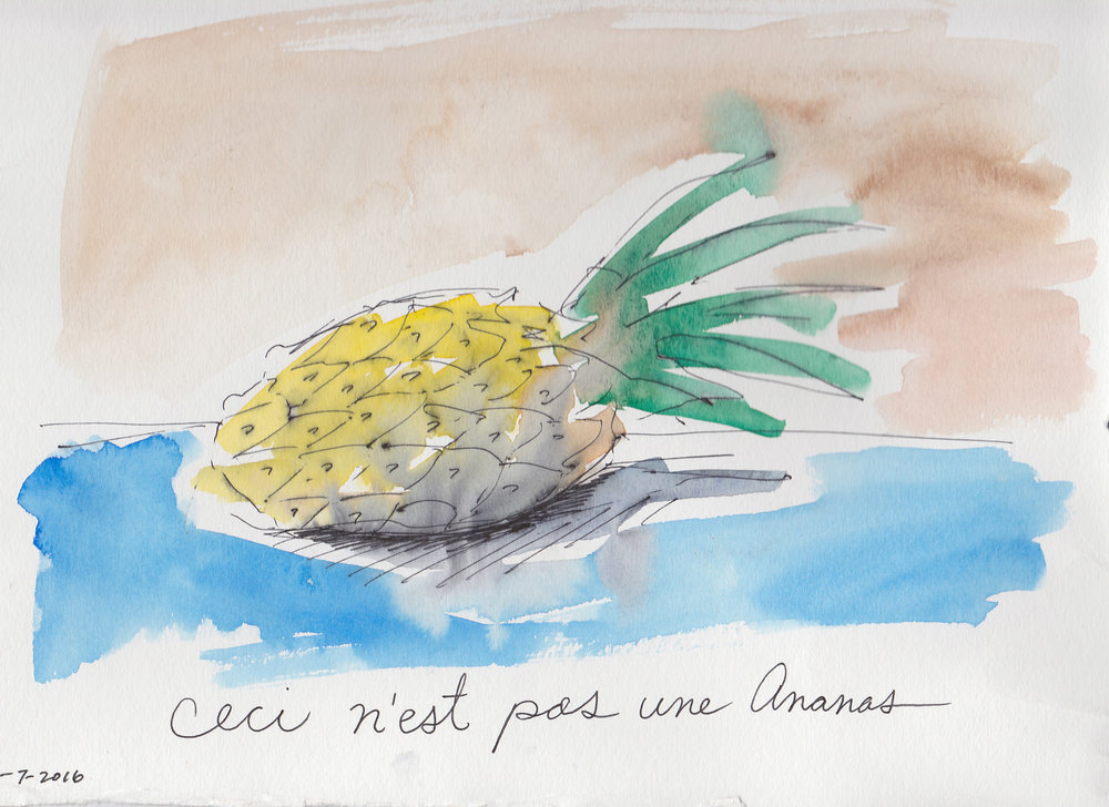 """""""Ceci N'est Pas Une Ananas"""" watercolor and ink on paper, 8x10, $400"""
