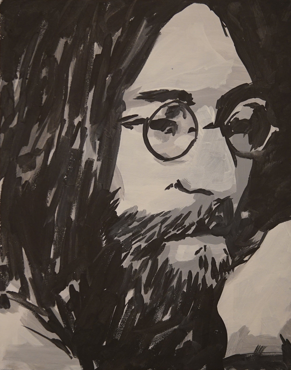 """John Lennon"" (BW Portrait Series) Acrylic on canvas. 16x20. 2018. $270"