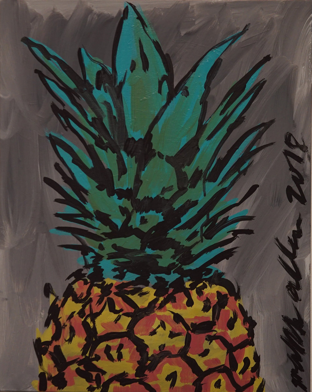 """The Crown of the Pineapple"" (Pineapple series) Acrylic on canvas. 16x20 inches. 2018. $270"
