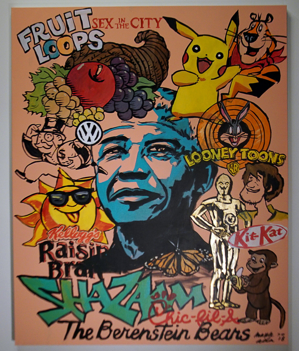 """""""False Memories in Pink"""" 2018. 48x60 inches. Acrylic on canvas. P.O.R.  Current Reality: FrOOt Loops, Sex AND the City, Pikachu has no black tail, Tony the Tiger has BLUE nose, Fruit of the Loom Logo has NO CORNUCOPIA, Monopoly Man has NO MONOCLE, VW logo has a LINE, Nelson Mandela died in 2013 (NOT THE 80'S IN PRISON), C3PO has a SINGLE SILVER LEG, Shaggy has NO ADAM's APPLE, Raisin Bran Sun has NO SUNGLASSES, Kazaam with Shaq exists - SHAZAAM WITH SINBAD AS GENIE DOES NOT EXIST, Chic""""K""""-fil-a, Curious George HAS NO TAIL, Berenst""""A""""in Bears."""