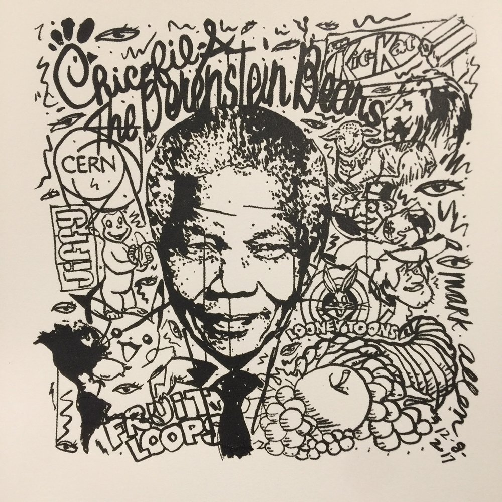 """""""M.E. Ink Painting"""" (Mandela Effect Series) Sumi ink on paper, 2017. 50x50 inches approx. P.O.R.  False Memories: Chic""""K""""-fil-a, Berenst""""A""""in Bears, Kit Kat has NO DASH, Cern Supercollider - culprit?, Nelson Mandela died in 2013 NOT during the 80's, The WOLF shall lie down with the lamb NOT LION, JIF peanut butter no """"fy"""" ever existed, Curious George has NO TAIL, Looney TUNES, Monopoly man has NO MONOCLE, Shaggy has NO ADAM's APPLE, South America is not directly south of North America, Pickachu has NO BLACK TAIL, FrOOt Loops, Fruit of the Loom logo HAS NO CORNUCOPIA."""