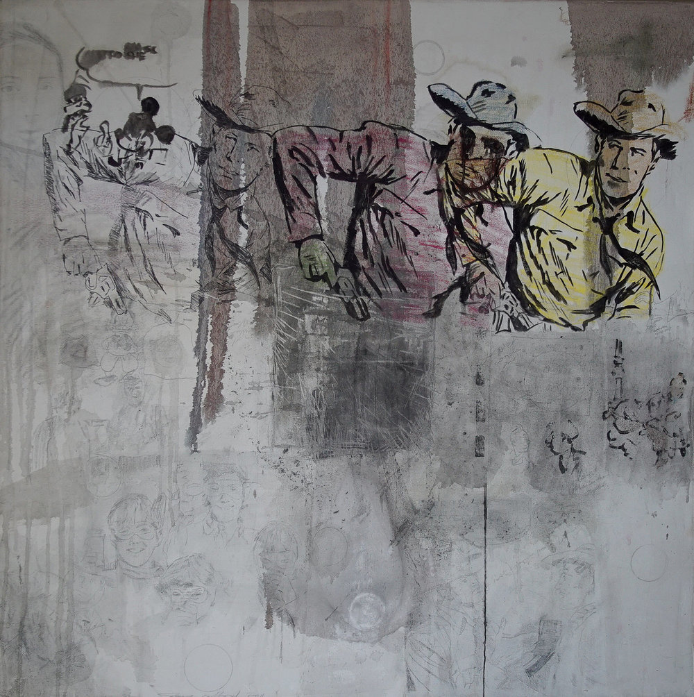 """""""Wild, Wild, Wild West."""" Oil, acrylic, graphite, and other mediums on raw canvas. 48x48 inches. 2012. P.O.R."""