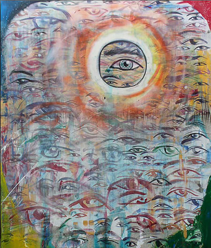 """""""The All Seeing 'I' """" acrylic and mixed media on canvas. 48x60 inches approx. 2016. (Disclaimer: canvas has an intentional burn hole) P.O.R."""