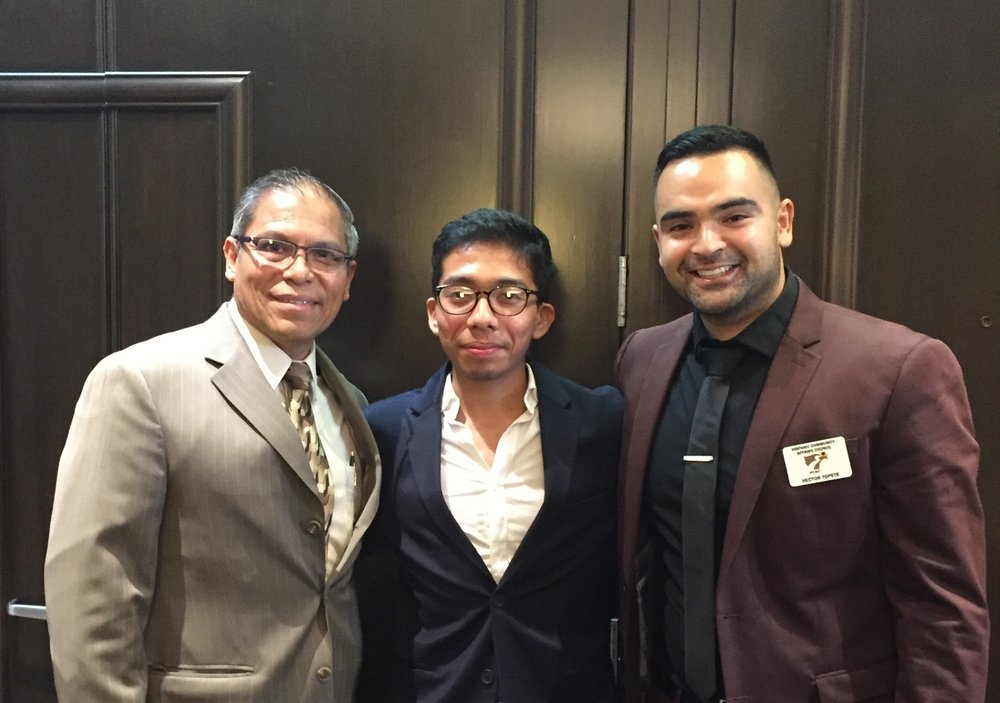 From left to right: Fredy del Aguila, GED Teacher; Hector Lopez, YES Participant; Hector Topete, Case Manager