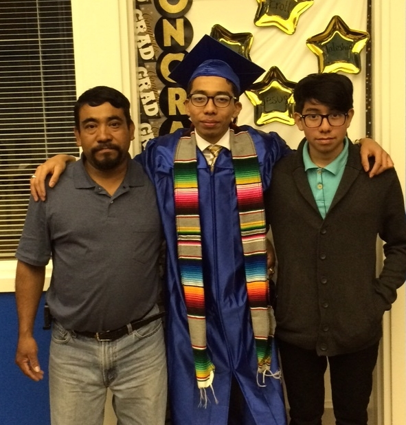Hector Lopez with family at his 2016 Graduation at the Hayward Adult School.