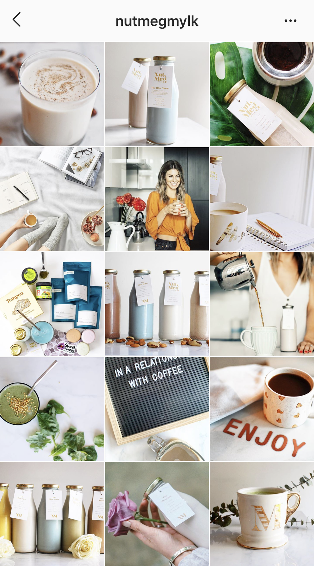 Nutmeg Mylk instagram feed. This is an excellent example of a brand using viual storytelling in their brand images. Clean, natural and modern.