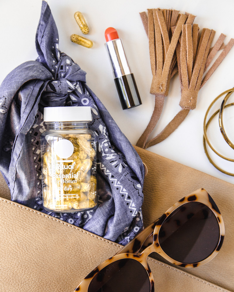 In this image for Ritual vitamins, the props tell the story: Your vitamins are just as important and can share space in your bag with other on-the-go accessories. A great example of visual brand storytelling/images