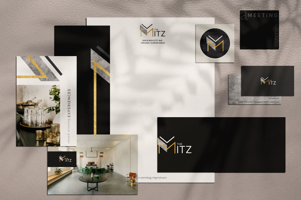 Brand Identity and Stationery for The Mitz, Chicago. Designed by Sarah Ehlinger   brand Spanking You