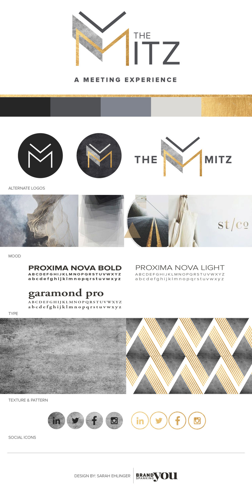 Brand Identity style board for The Mitz. Designed by Sarah Ehlinger   Brand Spanking You