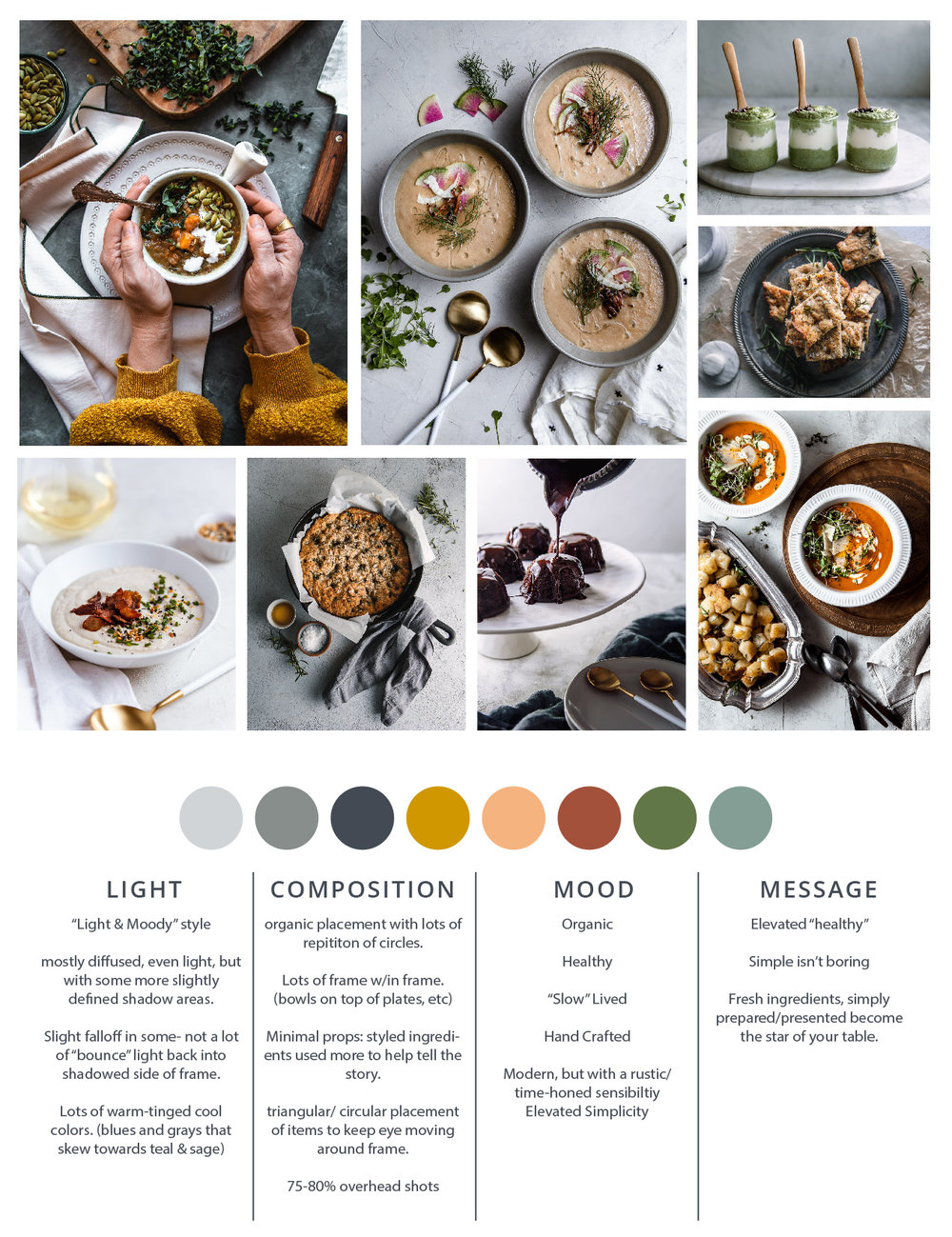 If you want to create a signature visual voice/ aesthetic for your food or wellness brand, start by creating a guide or moodboard you can refer to. It's especially helpful for creating a branded look on Instagram and can inform your colors, lighting, mood and overall style. These are all images taken by me- Sarah Ehlinger- for Brand Spanking you, and I refer to this to make sure I'm continuing to create images in a cohesive style