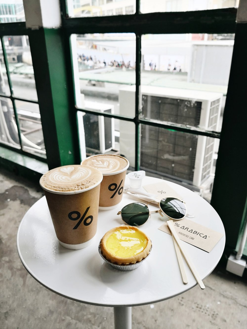 on the table - caffe latte (+ egg tart from Tai Cheong Bakery)