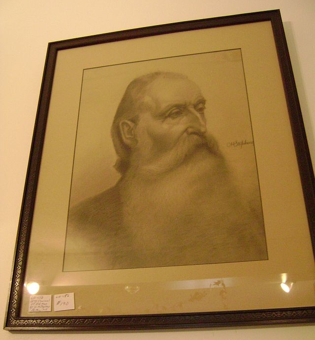 Charcoal of Old Man by C.H. Stephens