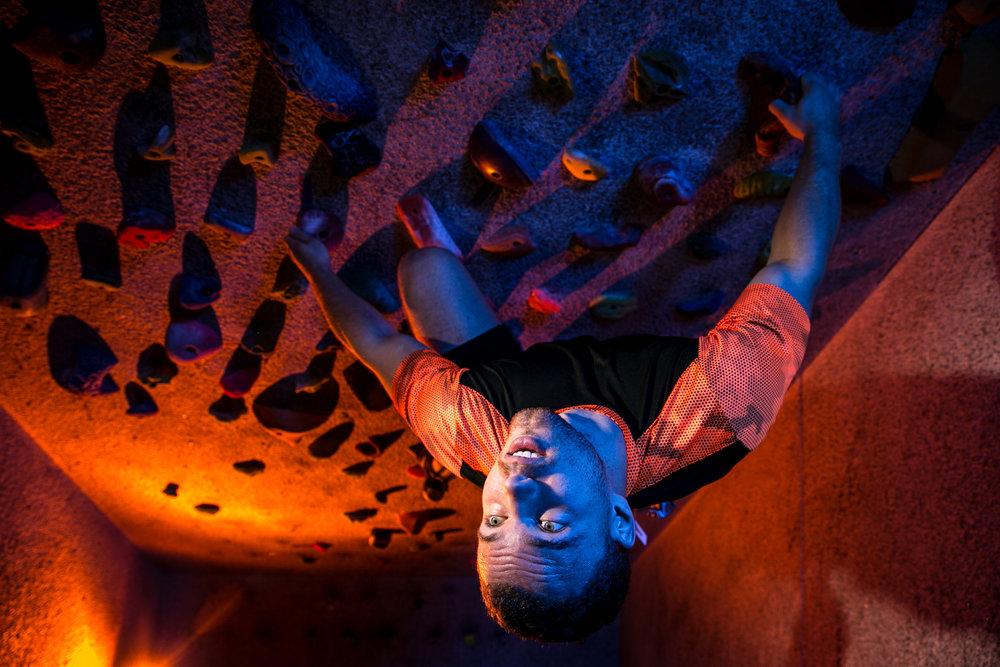 "Gabe Irwin, an avid rock climber and student at the University of North Carolina at Chapel Hill, climbs in ""the Cave"" at UNC's climbing center on September 26, 2017."