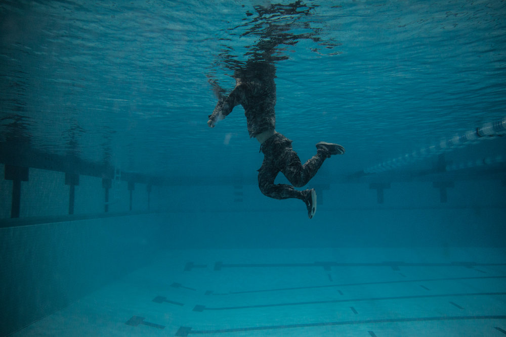 Another part of the combat swim test is showing the ability to swim while fully clothed, including shoes, for an extended period of time. The idea behind the swim test is to prepare cadets with the possibility of water-involved situations they may face during their military career. December 7, 2017.