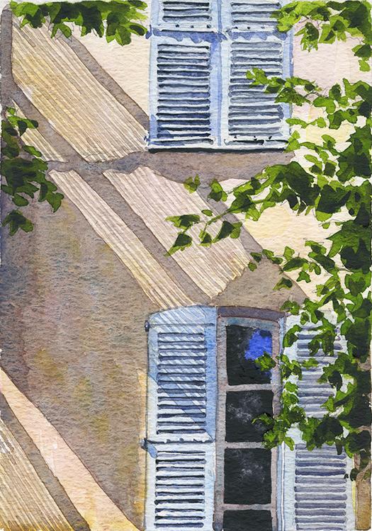 'Antibes Shadows' France, Watercolour, 25x18cm framed 48x39cm £425.jpg