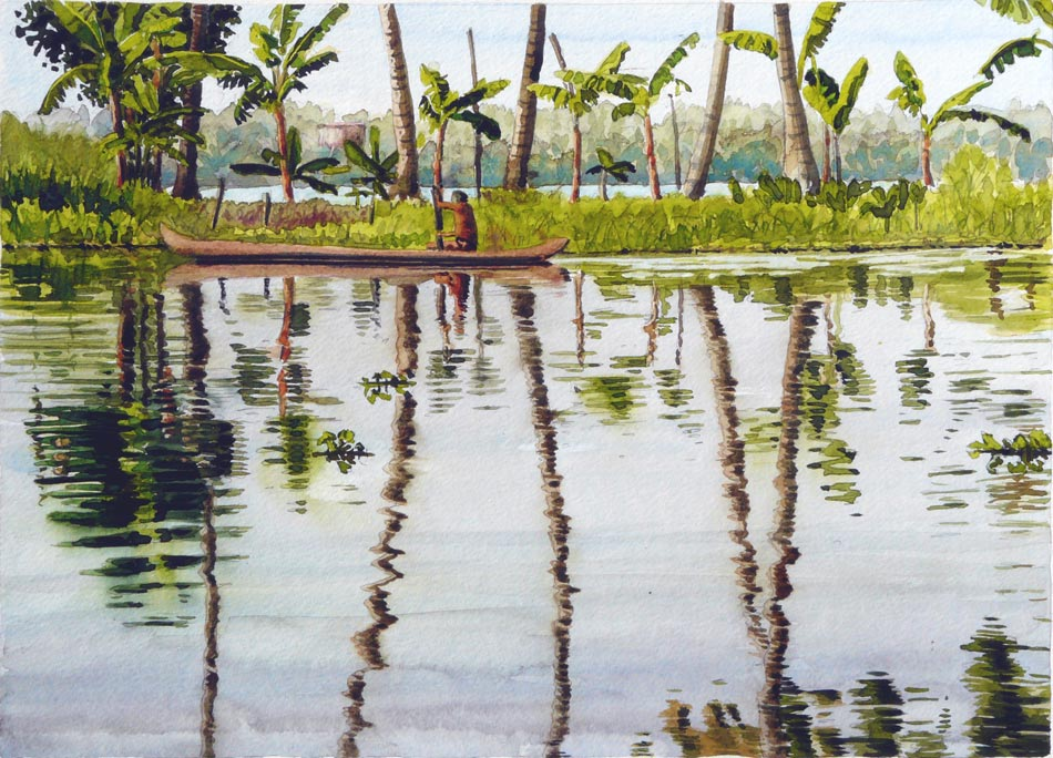 'Kerala Backwaters Boat' India, Watercolour, 25x36cm framed 55x65cm £595.jpg