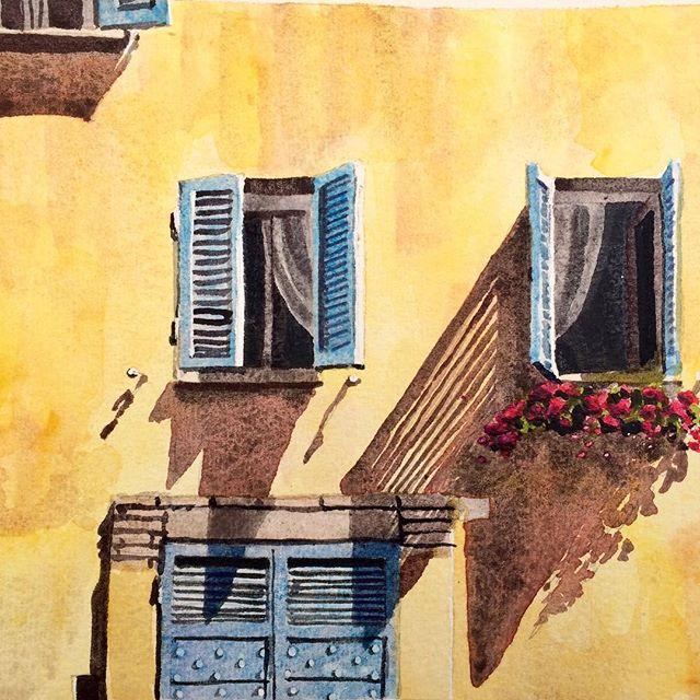 Yellow wall #aoh #perugia #paintings #watercolour #shadows #brightonandhove