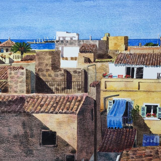 Evening Rooftops #painting#watercolour#mallorca #palma