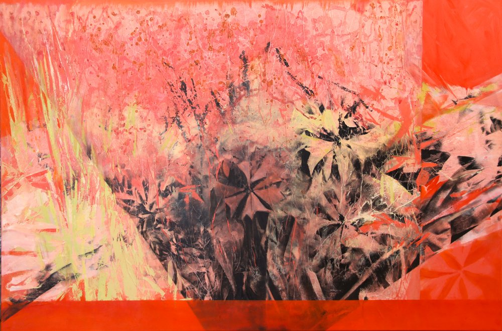 Rain Lilies, Acrylic Mixed Media,60 x 40