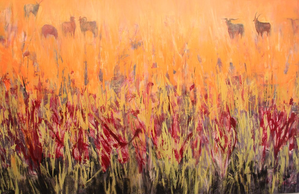 Mongolia Grasslands, Acrylic and Coal, 54 x 84