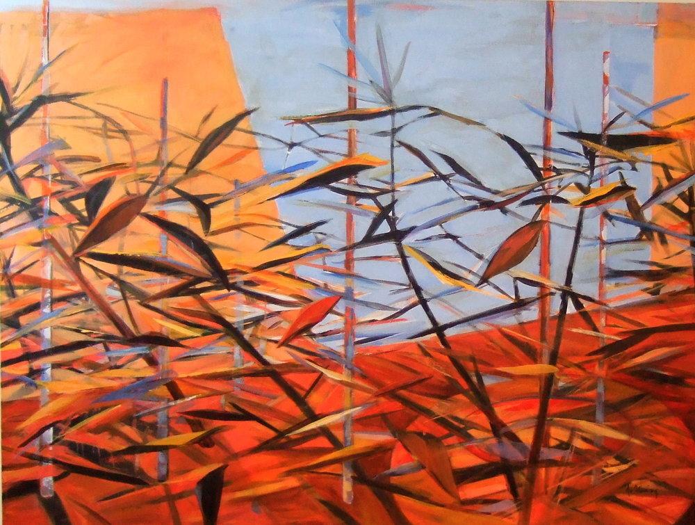 Oleander Heat, Acrylic on Canvas, 48 x 36