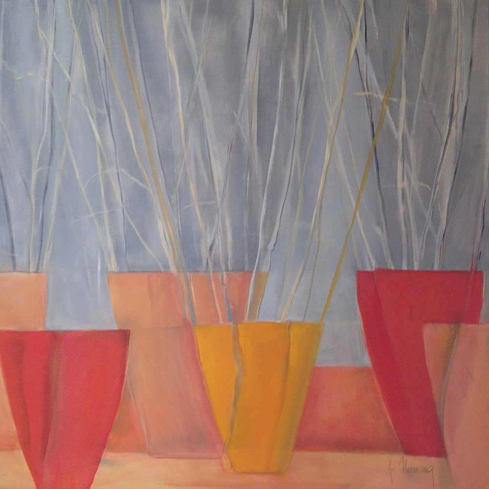 Sticks in Terra Cotta, Oil on Canvas, 32 x 32