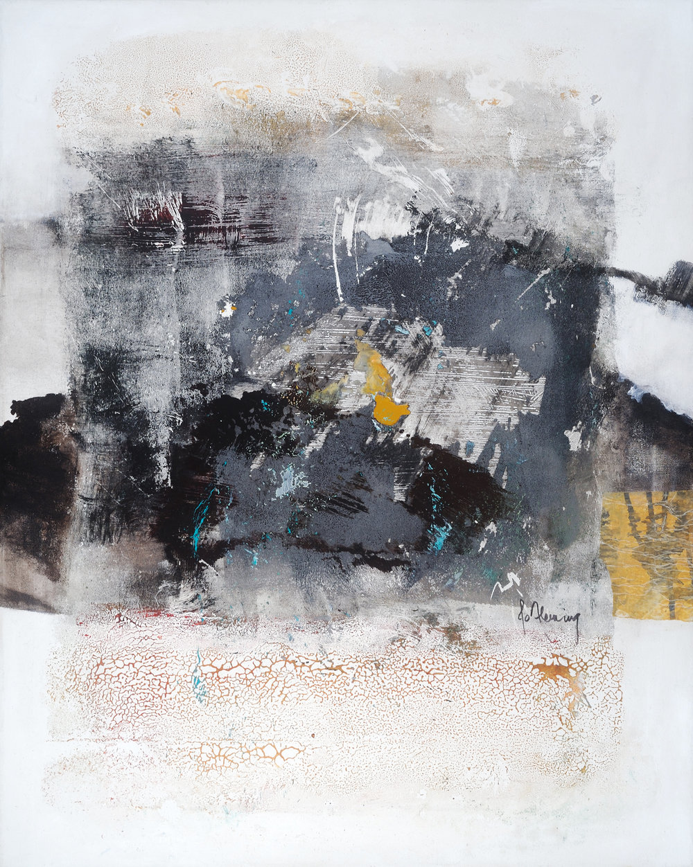"""Jo Fleming """"Water Quality"""" mixed media on canvas"""