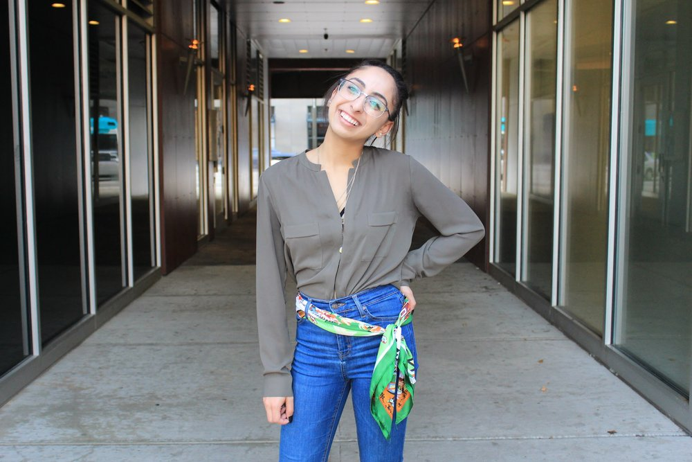 This outfit showcases how to add a more colorful scarf into the mix as I used it as a belt with my jeans, which gave the outfit a pop. My jeans are from Topshop, olive green button down is from Nordstrom Rack, shoes are from Steve Madden, and my glasses are from Eye Buy Direct.