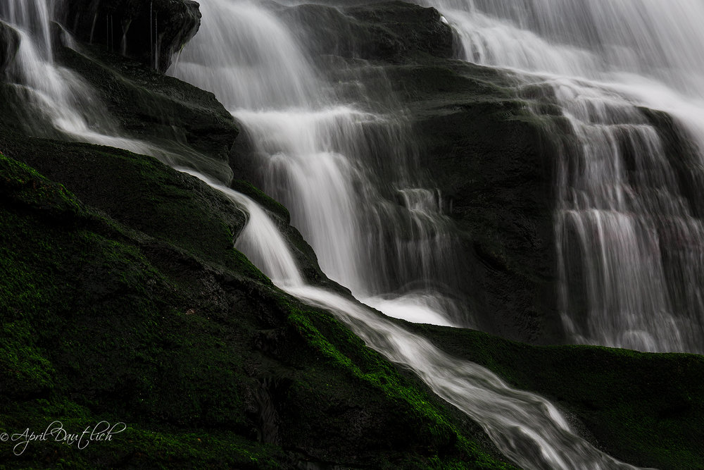 Dramatic curves of a waterfall in Cornwall England