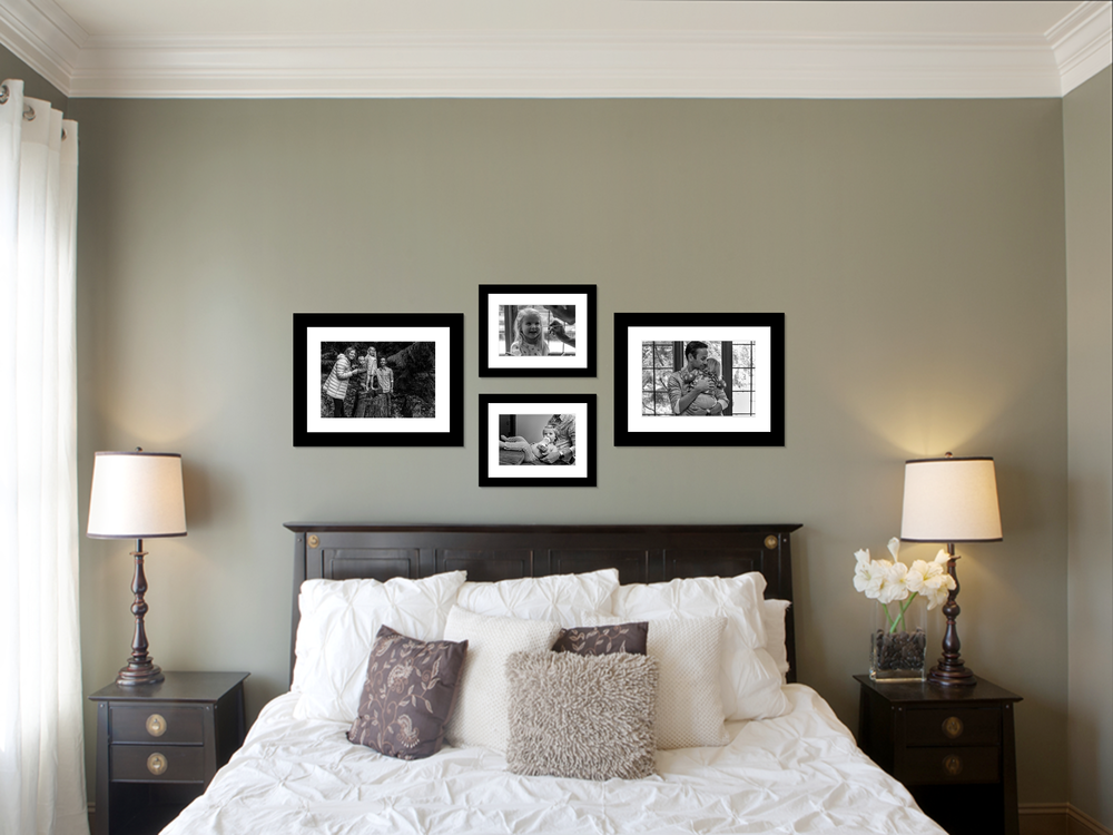 Bedroom sample with photographs from our session up as wall art.